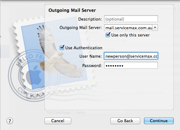 Outgoing mail server details